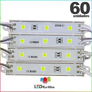 60 Modulo de 3 Led resinado 0.72w Branco Frio SMD CHIP 4040 6500K 12v IP67 Interno e Externo a Prova d'agua