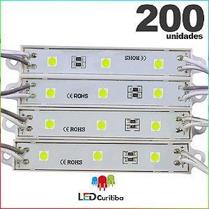 200 Modulo de 3 Led resinado 0.72w Branco Frio SMD CHIP 4040 6500K 12v IP67 Interno e Externo a Prova d'agua