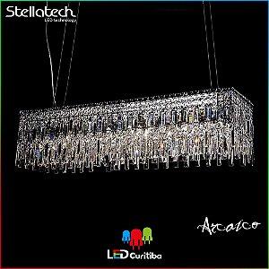LUSTRE PENDENTE STELLA ARCAICO (68cm) - 8xG9 40W 127v / 220v - 1100x296x1200x100 - Metal e cristais Translúcidos