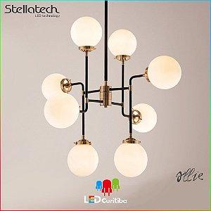 LUSTRE PENDENTE STELLA OLLIE (80cm) - 8xE14 40W - 795x710x745x120 (mm) - Metal Fosco Leitoso