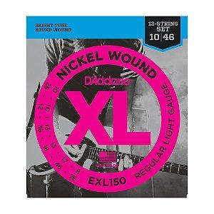 Encordoamento Guitarra 12C D'Addario 0,10 EXL 150