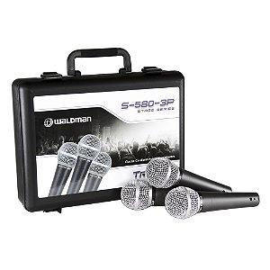 Kit com 3 Microfones Mão Waldman S 580 3P