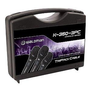 Kit Microfone Mão Waldman Karaoke K 350 3 PC