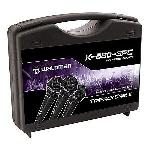 Kit Microfone Mão Waldman Karaoke K 580 3 PC