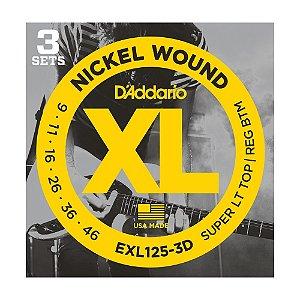 Kit 3 Encordoamento Guitarra D'Addario 0,09 EXL 125 3D
