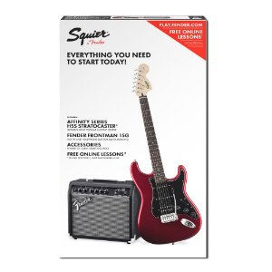 Kit Guitarra Strato Squier Candy Apple Red e Amplificador Fender Frontman 15