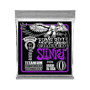Encordoamento de Guitarra Ernie Ball 011. Coated Power Slinky