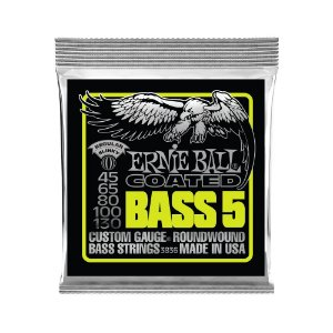 Encordoamento de Contrabaixo 5 Cordas Ernie Ball 045. 5 Strings Coated Super Slky