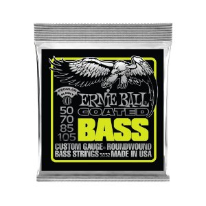 Encordoamento de Contrabaixo 4 Cordas Ernie Ball 050. Coated Regular Slinky