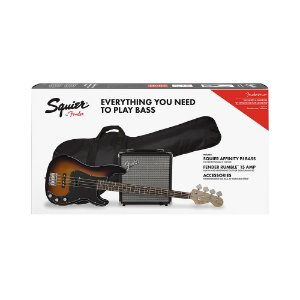 Kit Contrabaixo Squier Affinity PJ Bass e Amp Rumble 15 Brown Sunburst