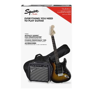 Kit Guitarra Squier Affinity Strat HSS Frontman 15G Brown Sunburst
