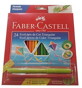 Lápis de Cor Faber-Castell 24 Cores Com 2 Canetinhas Vai e Vem