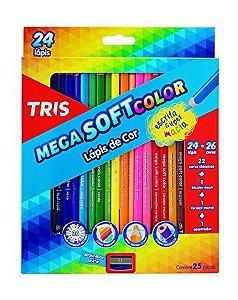 Lápis de Cor Mega Soft Color - 24 cores - TRIS