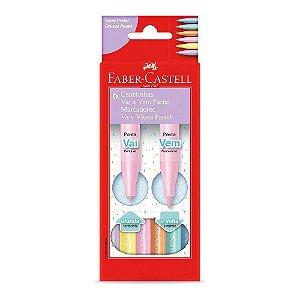 Canetinha Hidrográfica Vai e Vem Tons Pastel 6 cores Faber-Castell