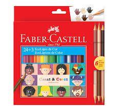 Lápis Faber-castell Caras & Cores -24 Cores + 6 Tons De Pele