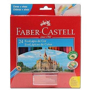 EcoLápis 24 Cores e 1 Apontador com Depósito, Faber-Castell +1APT, Grafite