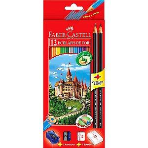 Ecolápis Faber Castell 12 Cores Kit Escolar