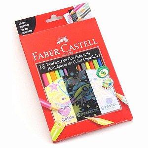LÁPIS DE COR FABER-CASTELL ECOLÁPIS CORES ESPECIAIS COM 18 CORES