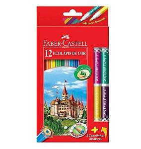 LÁPIS DE COR FABER-CASTELL - 12 CORES + 2 CANETINHAS BICOLORES