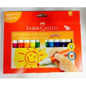 Caneta Hidrográfica Jumbo Faber Castell 12 Cores