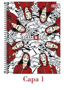 Caderno LA Casa de Papel Espiral Capa Dura 1 matéria 80 Fls - Tilibra