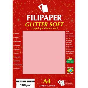 Papel A4 Color Glitter Soft 180g. Filipaper Cx.c/15