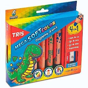 Lápis Cor Tris Mega Soft Color Gigante 4 Em 1