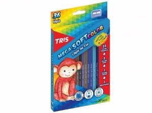 Lápis De Cor Tris Mega Soft Color 36 Cores + 01 Apontador