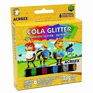 Cola glitter 6 cores sortidas
