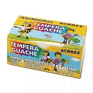 Tinta Tempera Guache Acrilex 15 ml - 6 Cores