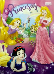 Caderno brochurão capa dura universitário - 96 folhas - Princesas - Rapunzel, Aurora e Branca de Neve - Tilibra
