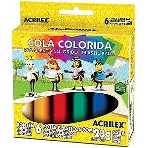 Cola colorida 23g c/06 cores Ref 02606 Acrilex