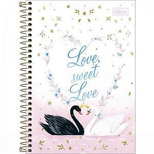 Caderno 1/4 Cisne Royal Love sweet Love Tilibra 80folhas