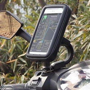 Suporte Case Para Moto Retrovisor Impermeável Galaxy S8+ REFORÇADO NÃO TREME