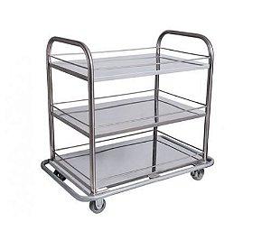 Carro Para Transporte de Bandejas - 03 prateleiras - Aço Inox
