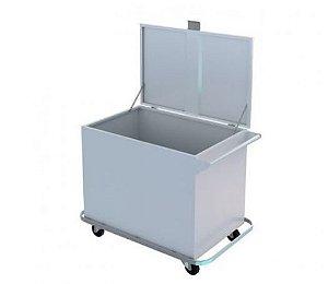 Carro para Transporte de Roupa Suja em Aço Inox para Lavanderia Hospitalar