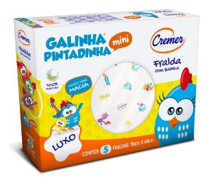Fralda Galinha Pintadinha c/ Bainha 70x68cm – 5un