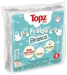Fralda Branca Topz Baby Pç 5 Un