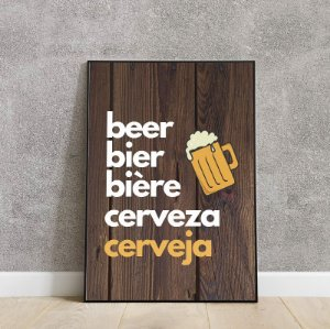 Placa decorativa peça a sua cerveja em qualquer lugar
