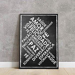 Placa decorativa Chalkboard Palavras