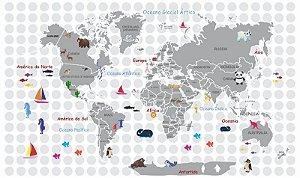 Adesivo decorativo Mapa Mundi Infantil