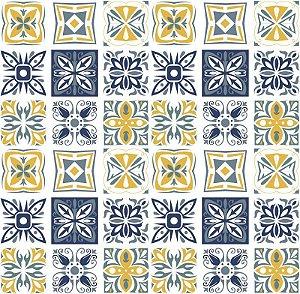Adesivo de Azulejo Decorativo Azul e Ocre