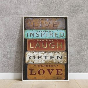placa decorativa LIVE INSPIRED LAUGH OFTEN LOVE