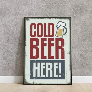 placa decorativa da Cold Beer Here!