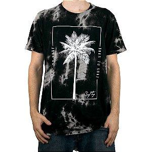 Camiseta Surf Trip Tie Dye Coqueiro Preto