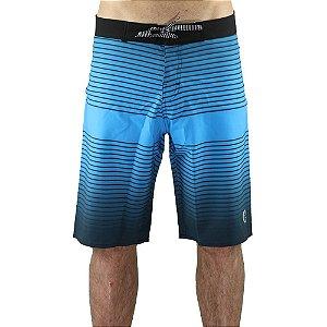 Bermuda Surf Trip Água Cordão Cós Stripes Azul