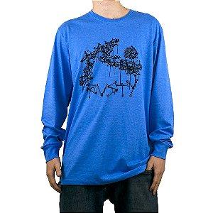 Camiseta Rusty Bones Azul Manga Longa