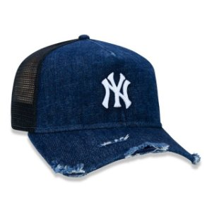 Boné New Era 940 MLB New York Yankees A-Frame Trucker Denim Logo Branco