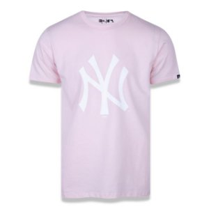 Camiseta New Era MLB New York Yankees Rosa Logo Branco