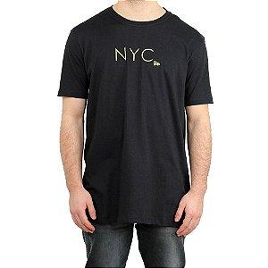 Camiseta New Era Básica Branded New York City Fluor Simple Preto/ Amarelo